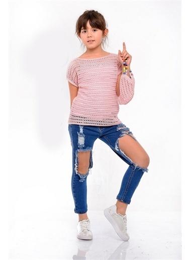 Hilal Akıncı Kids Kiz Çocuk Yazlik Trıko Bluz Yirtik Kot Pantolon Trıko Çanta Üçlü Takim Pembe